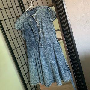 Mini Ash-Wash Sleeve Dress - Soft Denim